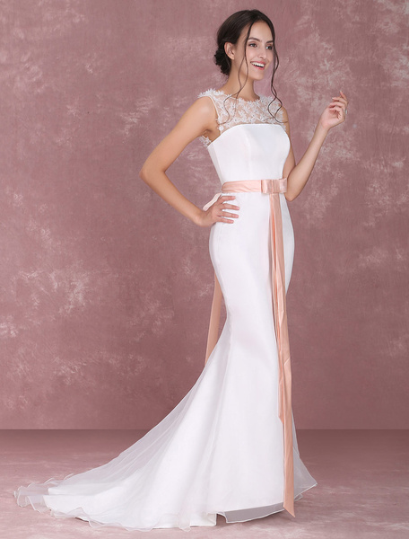 Milanoo Vestido de novia de tul de marfil Escote transparente con flor Con cola