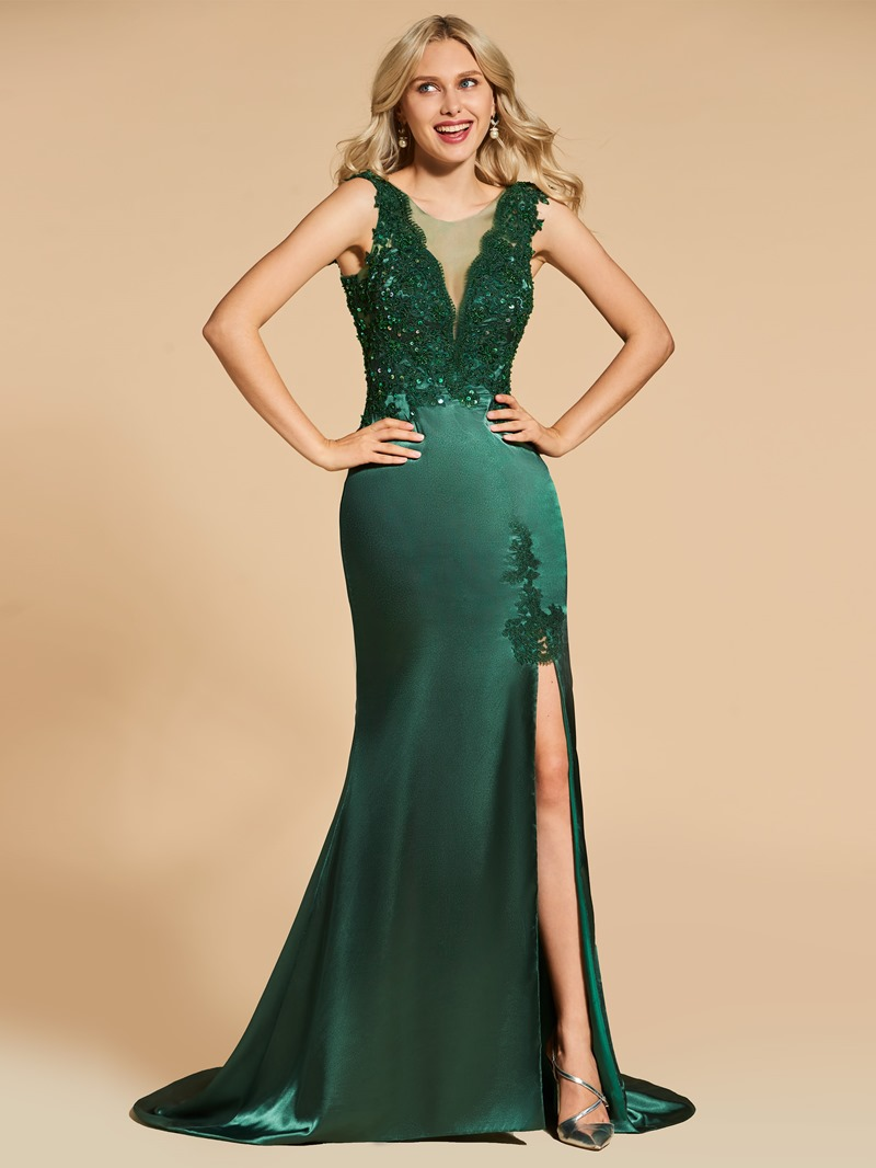 Ericdress Scoop Neck Applique Beaded Mermaid Evening Dress With Side Slit