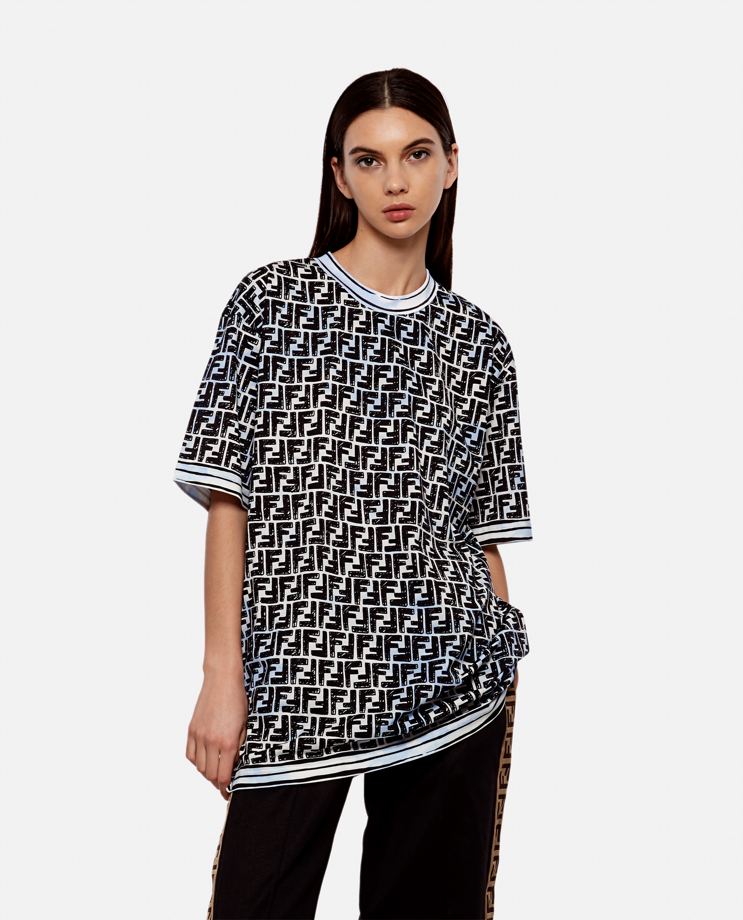 Oversized T-shirt in printed cotton