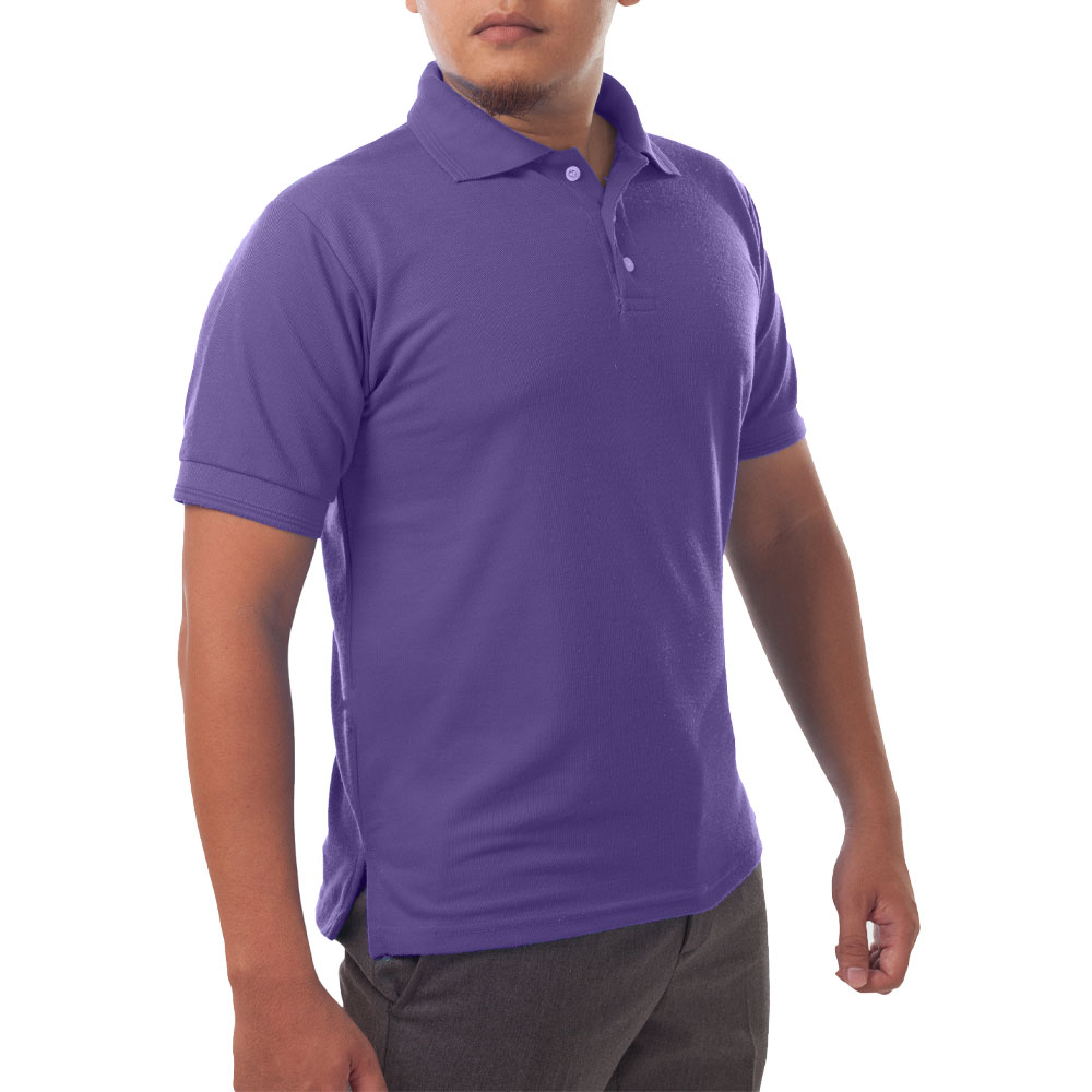Page & Tuttle Solid Jersey Short Sleeve Polo Golf Shirt Purple- Mens- Size XXL