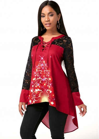 Lace Up Christmas Tree Print High Low Hem Blouse - S