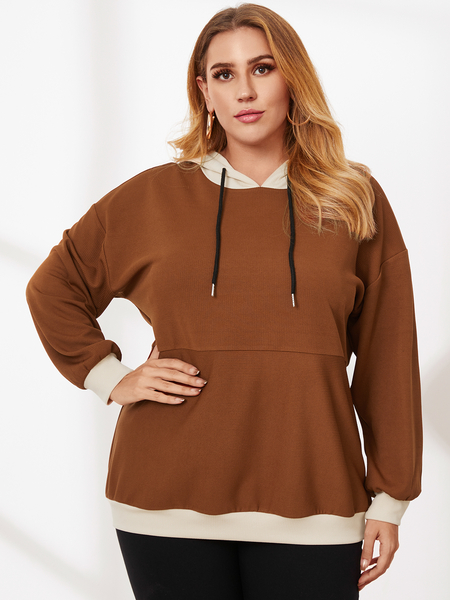 YOINS Plus Size Patchwork Hooded Design Long Sleeves Knitwear