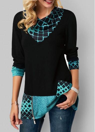 Women'S Black Geometric Print Long Sleeve Tunic Casual T Shirt Zipper Detail V Neck Fall Top By Rosewe - XXL