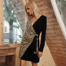 Leopard Panel Tie Side Fitted Dress