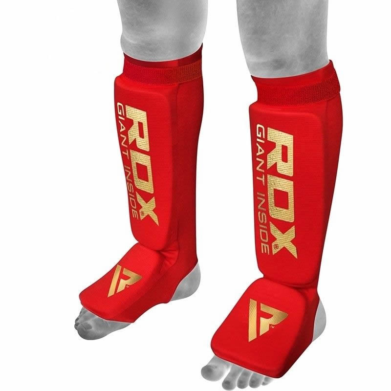 RDX SI Shin and Feet Protection Guards Hosiery Small Red/Golden
