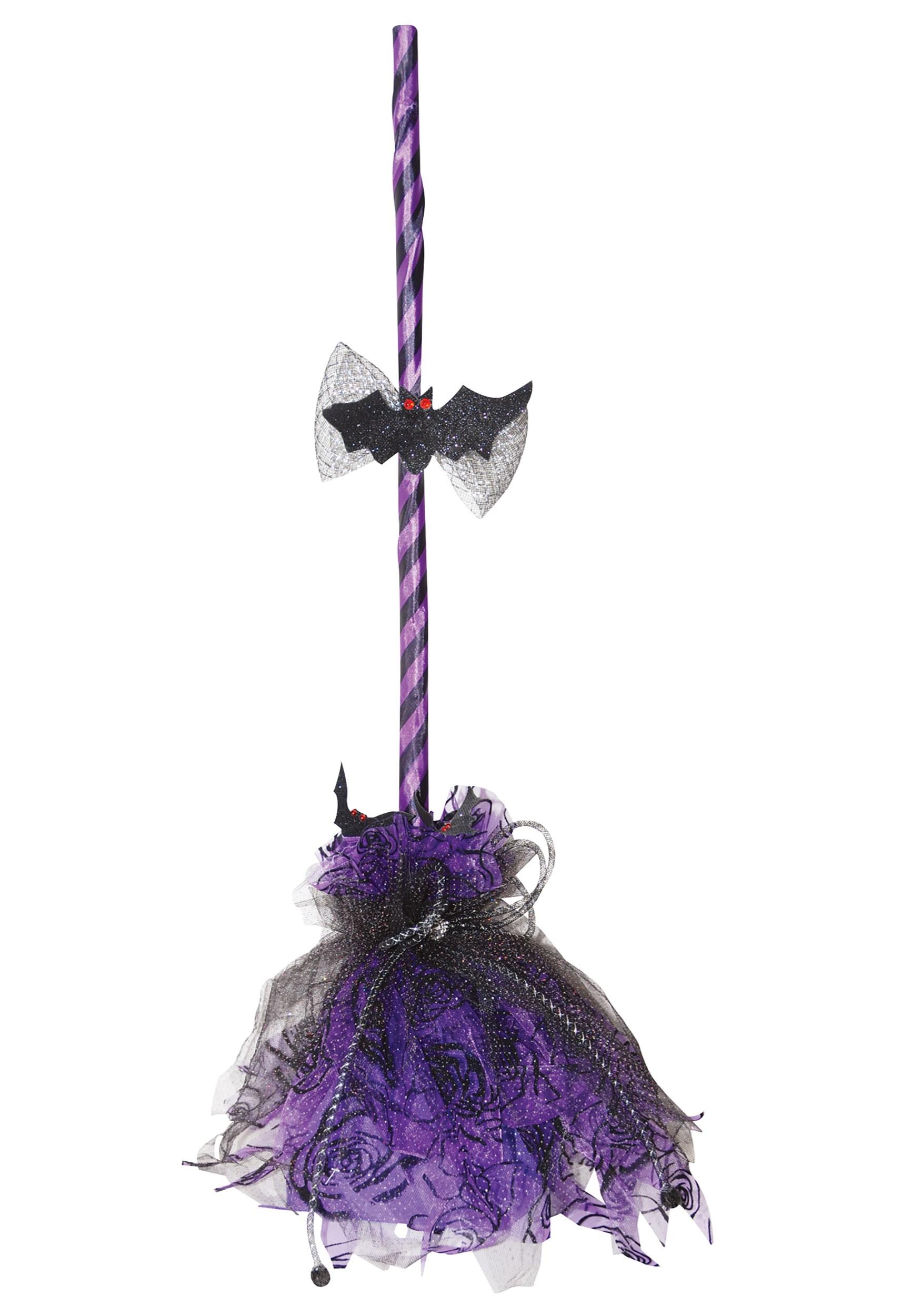 Halloween Decor: Purple Animated Shaking Broom