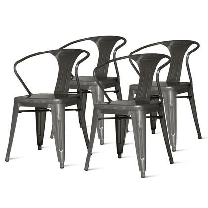 938731-GM Metropolis Collection 20 Metal Chair (Set of 4) with Spray Painted Steel  Low-Back Seat  Rubber Protective Floor Glider and Metal Armrest