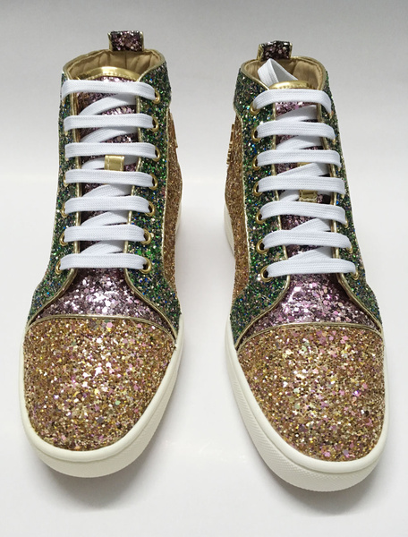 Milanoo Gold Mens Sneakers 2020 Sequin Flat Lace Up Round Toe Glitter Skate Shoes Casual Shoes