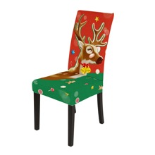 Christmas Elk Print Stretchy Chair Cover