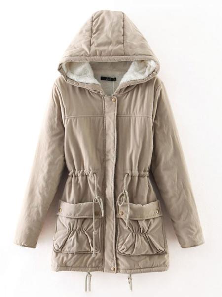 Milanoo Puffer Coats Caqui bolsillos cuello de cobertura de la cremallera de manga larga de invierno ocasional capa de abrigo