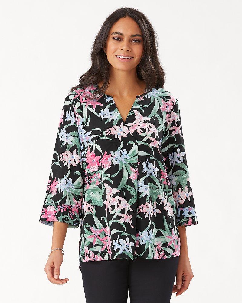 Belina Orchid Isle 3/4-Sleeve Silk Tunic