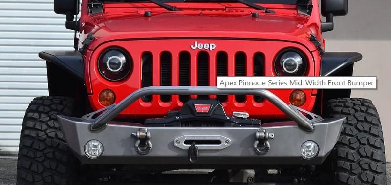 Full Metal Fabworks ApexMW-001 Pinnacle Series Bare Mid Width Front Bumper Jeep Wrangler JK