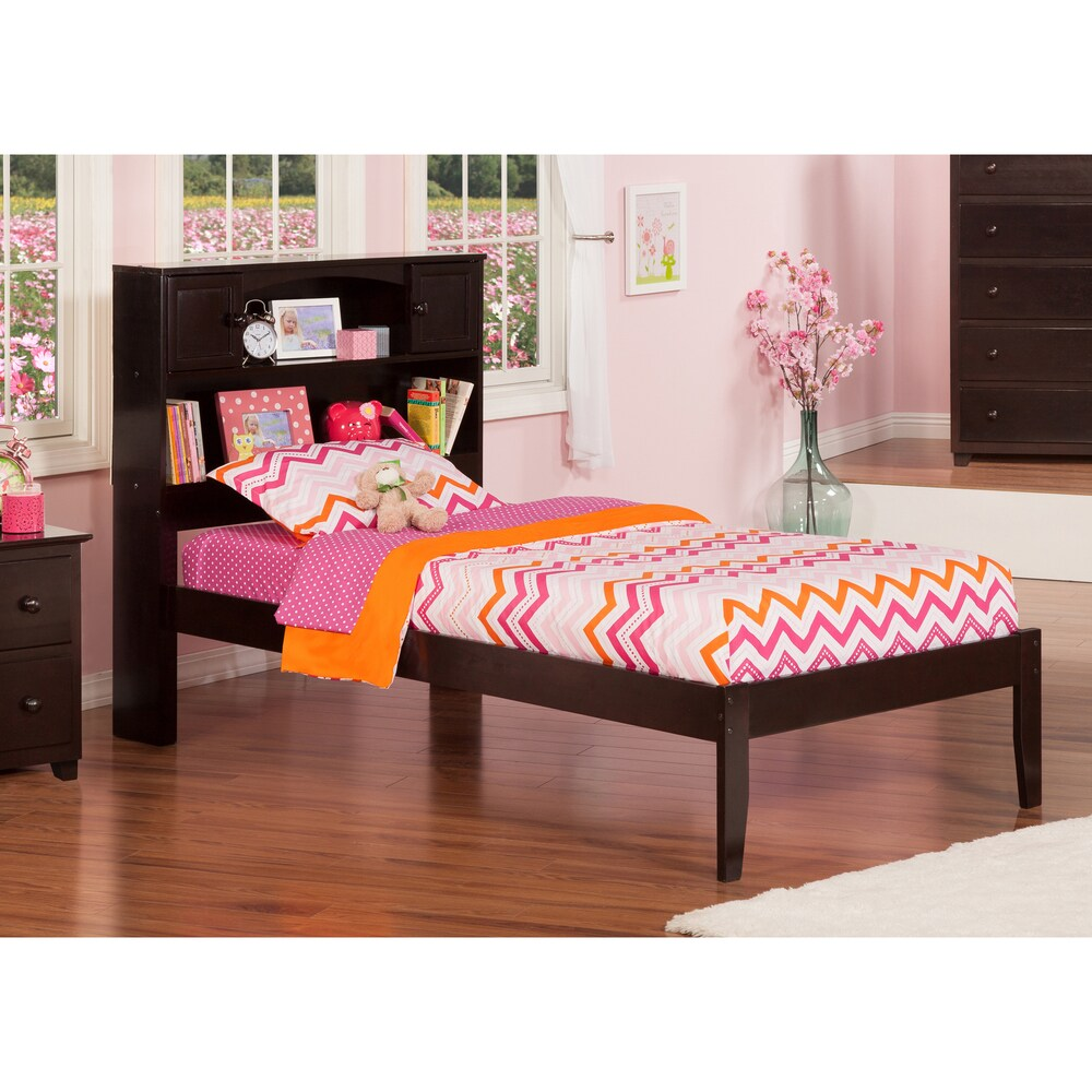 Newport Twin XL Platform Bed with Open Foot Board in Espresso (Twin XL - Brown)