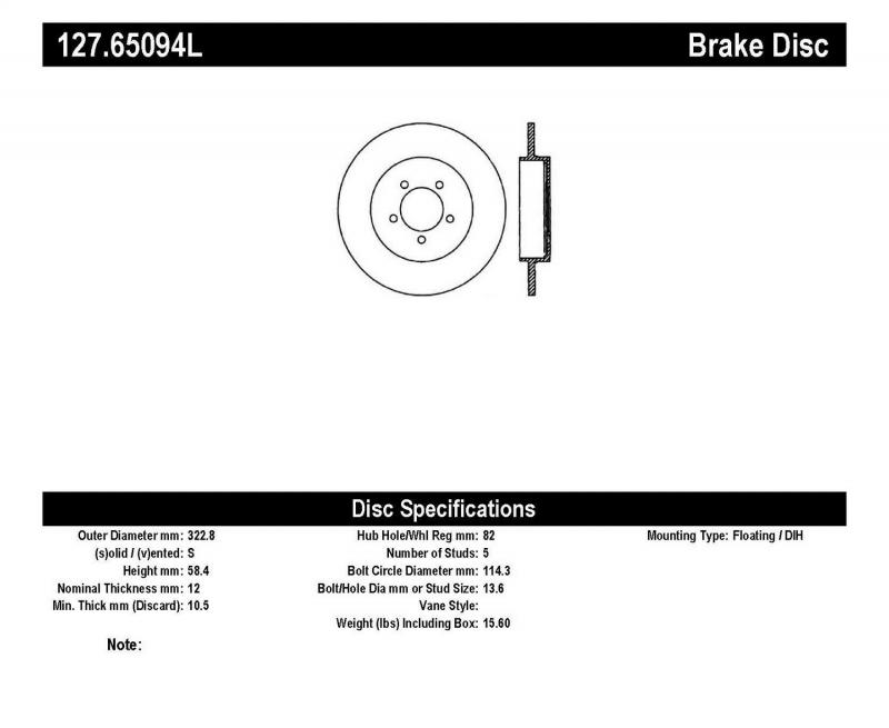 StopTech 127.65094L Sport Drilled/Slotted Brake Rotor; Rear Left Lincoln Aviator Rear Left 2003-2005