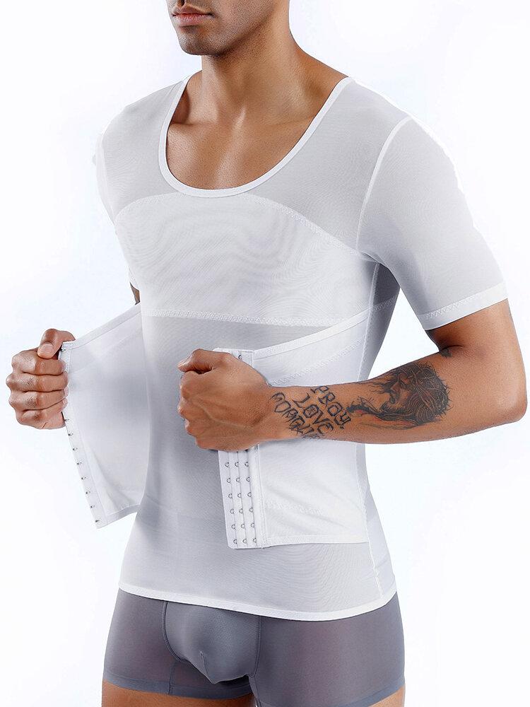 Men Mesh Breathable Compression Tops Adjustable Tummy Control Belt Slimming Underwear Shapewear