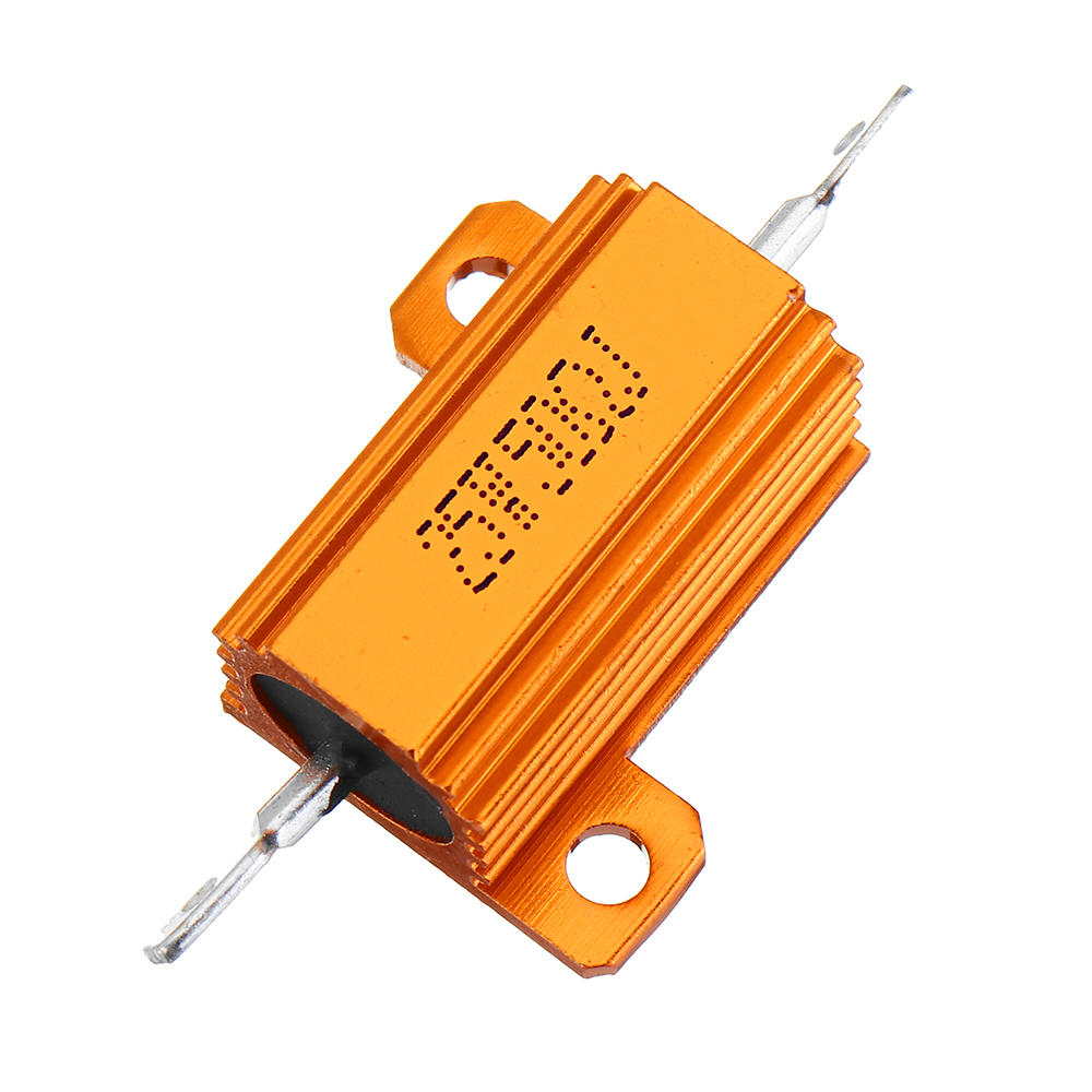 RX24 25W 50R 50RJ Metal Aluminum Case High Power Resistor Golden Metal Shell Case Heatsink Resistance Resistor