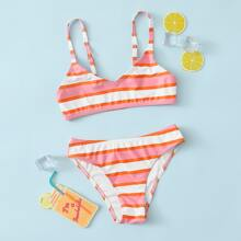 Girls Striped Print Bikini Swimsuit