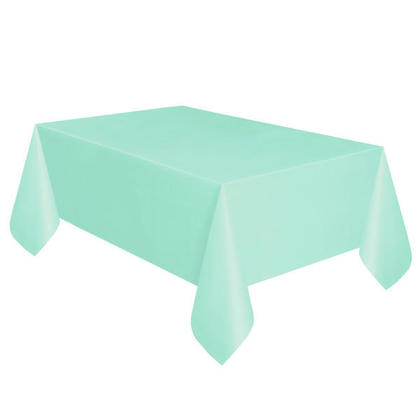Party Plastic Table Cover Rectangular, Mint Solid 54