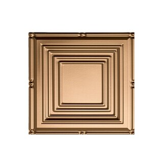 Fasade Portrait Decorative Vinyl 2ft x 4ft Glue Up Ceiling Tile in Polished Copper (5 Pack) (12x12 Inch Sample)