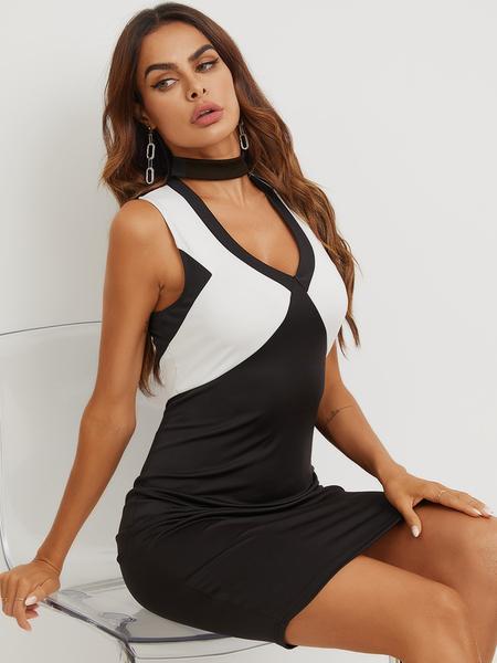YOINS Black Patchwork Choker Neck Sleeveless Dress