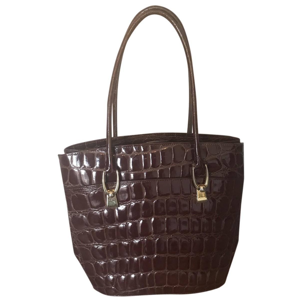 Non Signe / Unsigned \N Handtasche in  Bordeauxrot Krokodil
