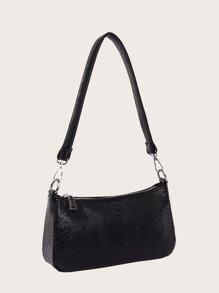 Snakeskin Print Baguette Bag