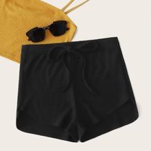 Grosse Grossen - Strick Shorts mit Knoten und asymmetrischem Saum