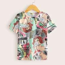 Camiseta de niñas con estampado de periodico y figura