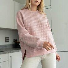 Split Hem Quilted Pullover