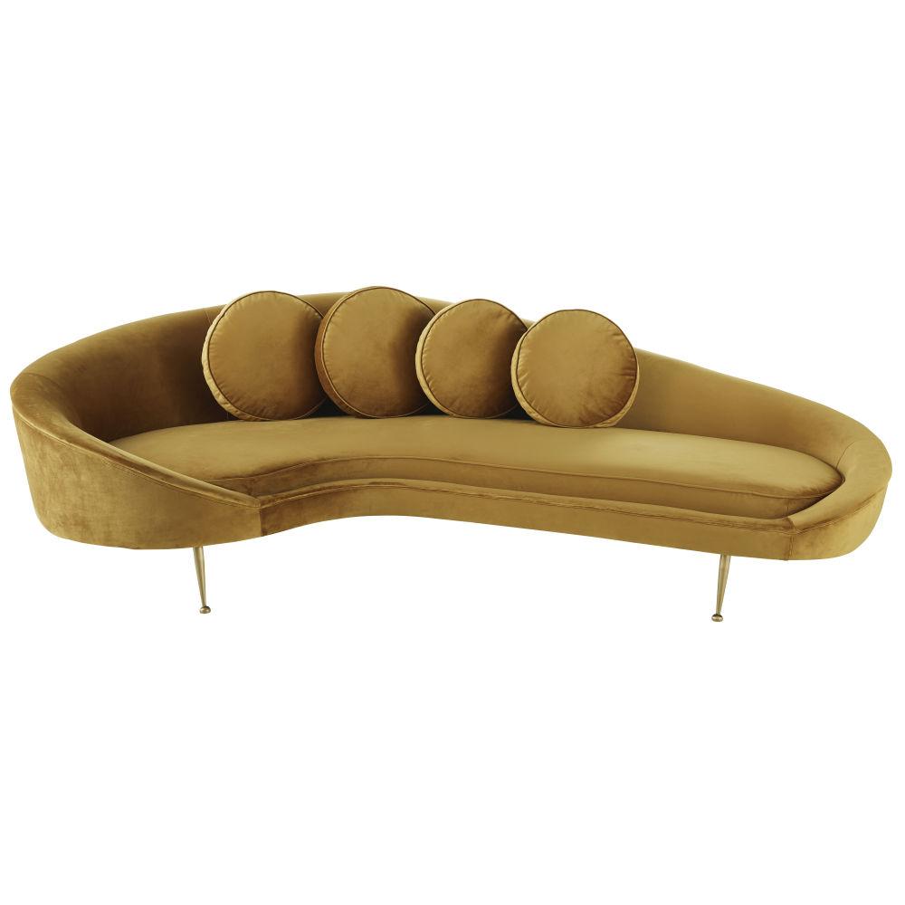 2/3-Sitzer-Sofa mit senfgelbem Samtbezug Mister
