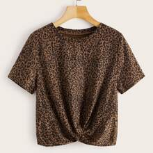 Camiseta bajo girante con estampado de leopardo - grande