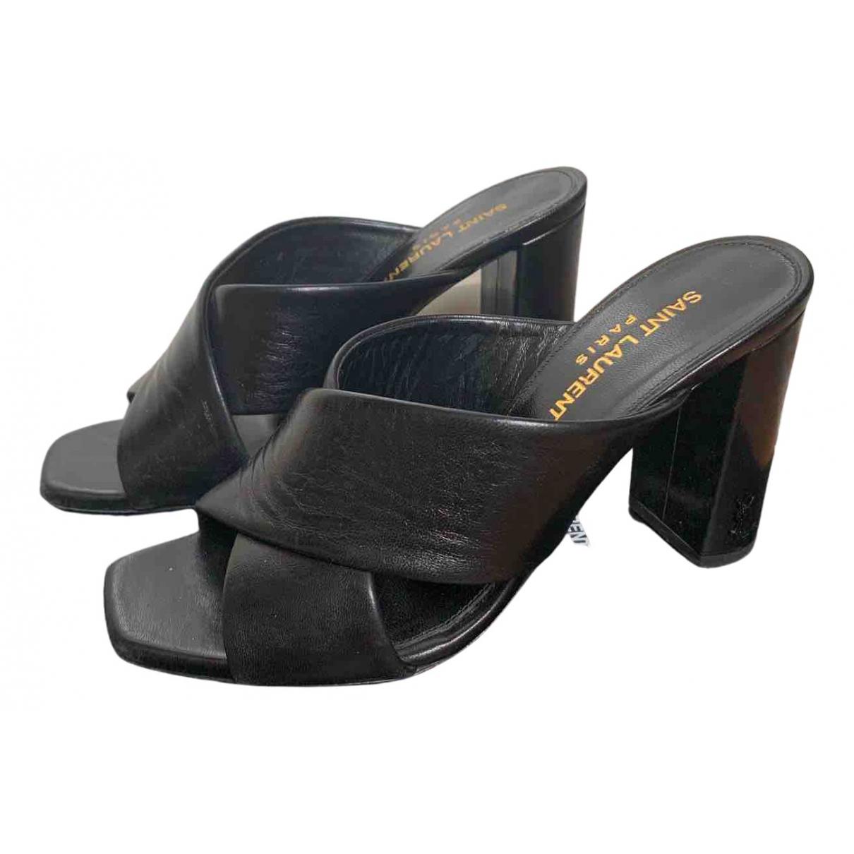 Saint Laurent \N Black Leather Sandals for Women 36 EU