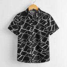Camisa geometrica de manga corta