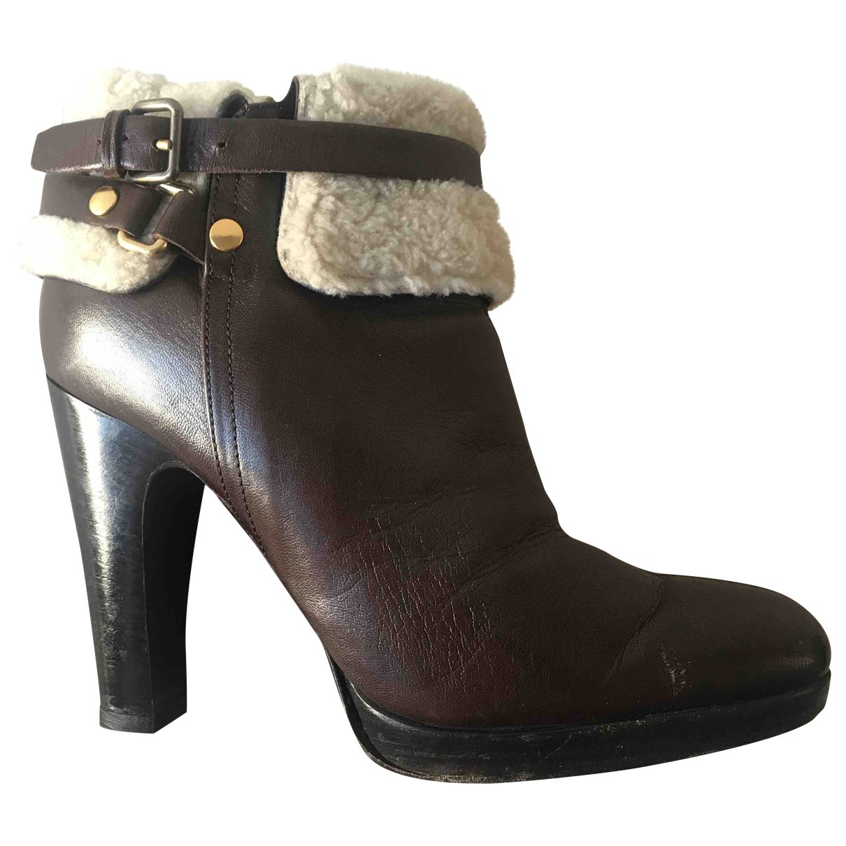 Miu Miu \N Brown Leather Ankle boots for Women 39.5 EU