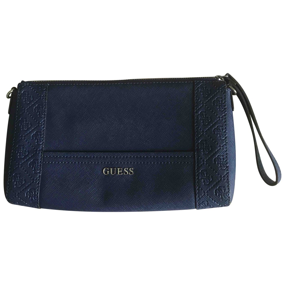 Guess \N Clutch in  Blau Leder
