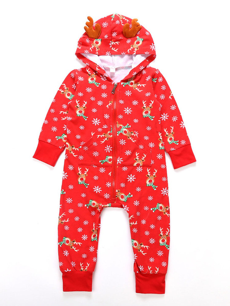 Milanoo Pajamas Family Matching Christmas Kids Red Printed Jumpsuits For Children