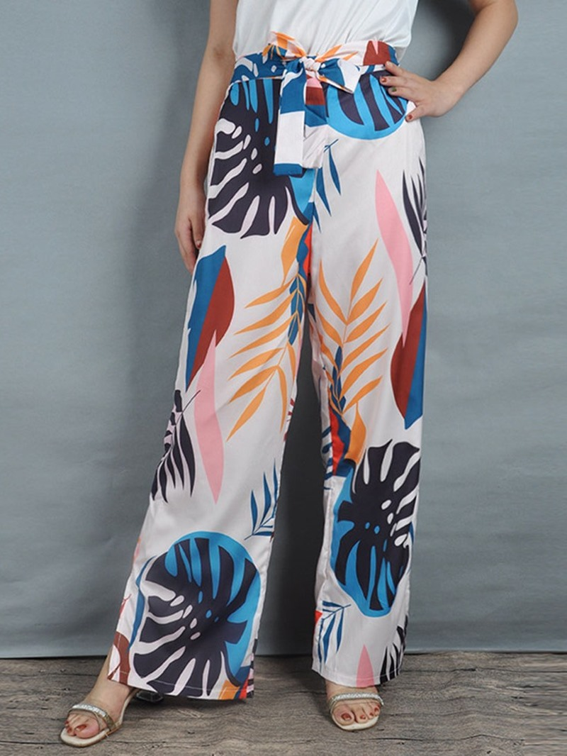 Ericdress Print Floral Loose Wide Legs Full Length Casual Pants