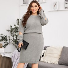 Plus Cut Out Sweater With Split Hem Knit Skirt