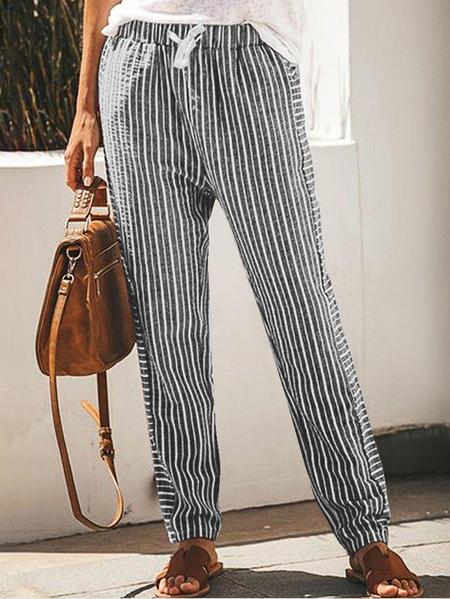 Yoins Striped Pockets Wide leg Casual Pants