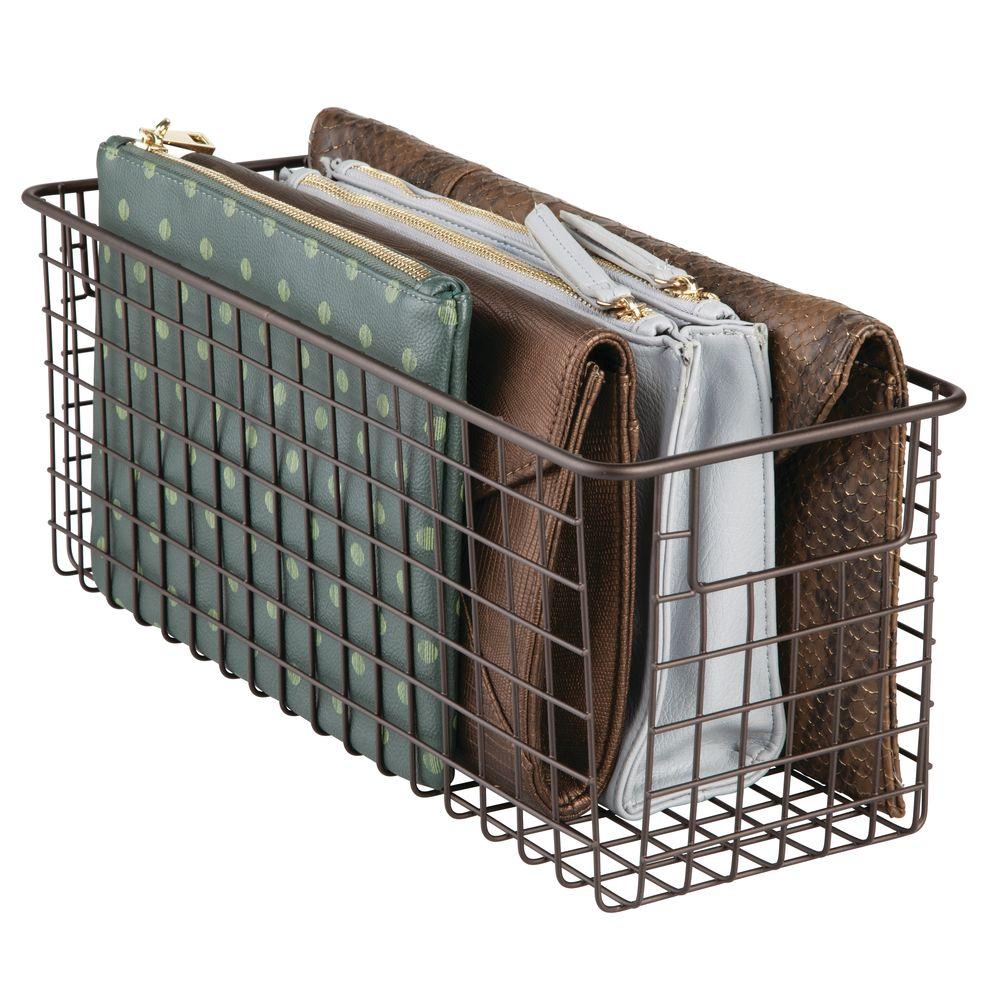 Metal Wire Closet Storage Basket in Bronze, 16