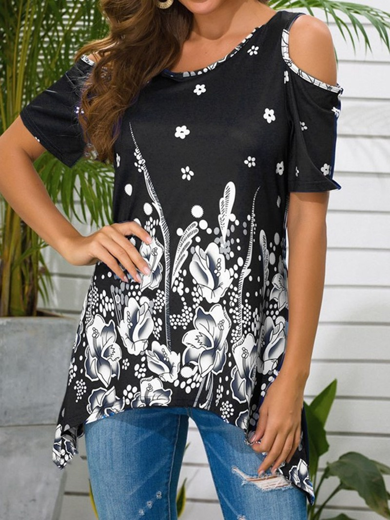Ericdress Round Neck Floral Short Sleeve Casual Loose T-Shirt