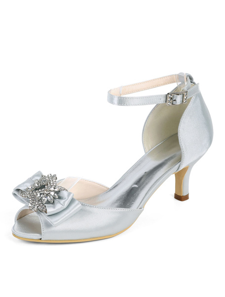 Milanoo Satin Wedding Shoes Peep Toe Rhinestones Bow Plus Size Mother Of The Bride Shoes Kitten Heel Bridal Shoes