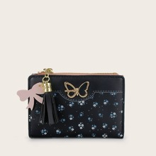 Butterfly Decor Tassel Charm Ditsy Floral Purse