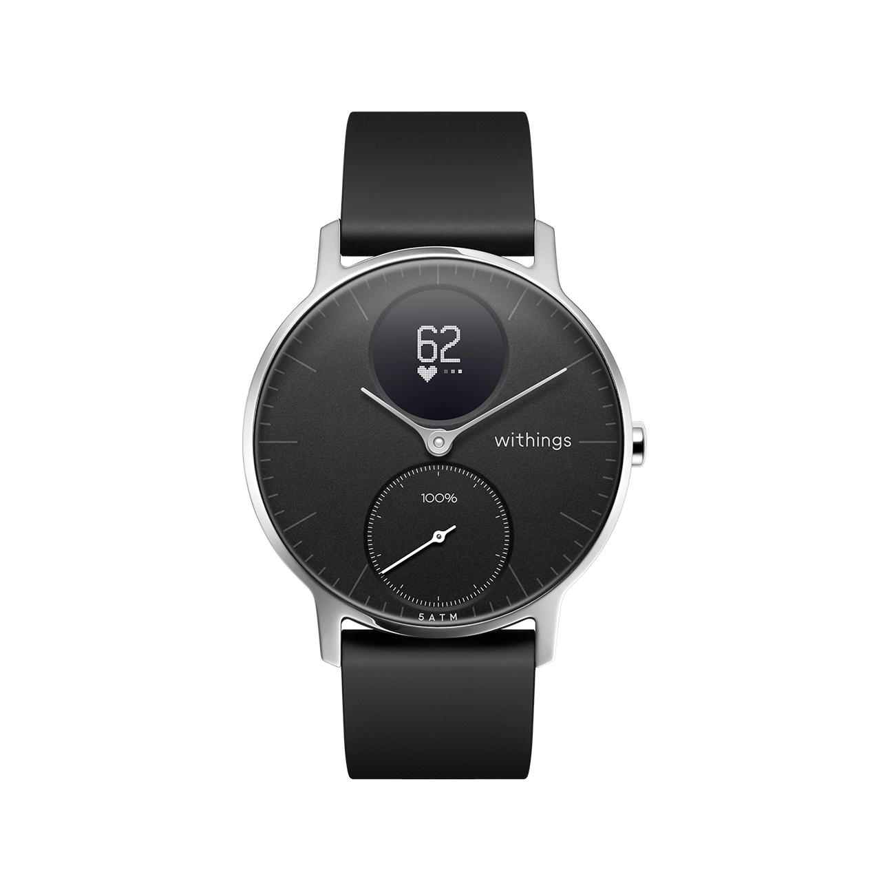 Withings Steel HR (Nokia), 36mm, Noir - Montre connectee hybride - Rythme cardiaque, Notifications - Boutique Officielle Withings