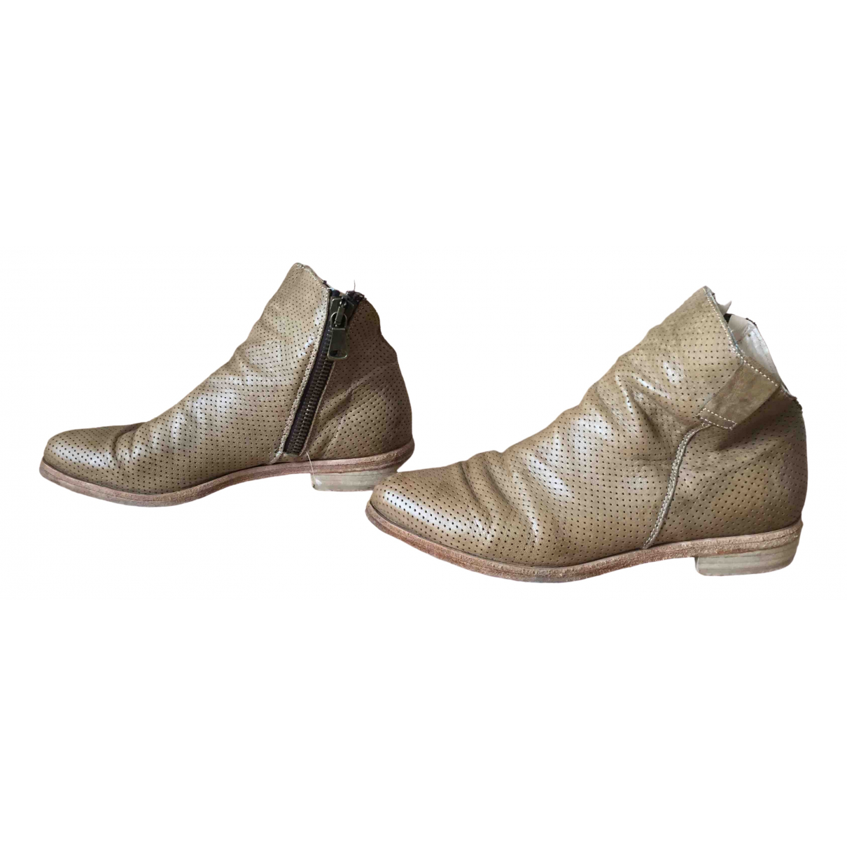 Non Signé / Unsigned \N Khaki Leather Ankle boots for Women 37 IT
