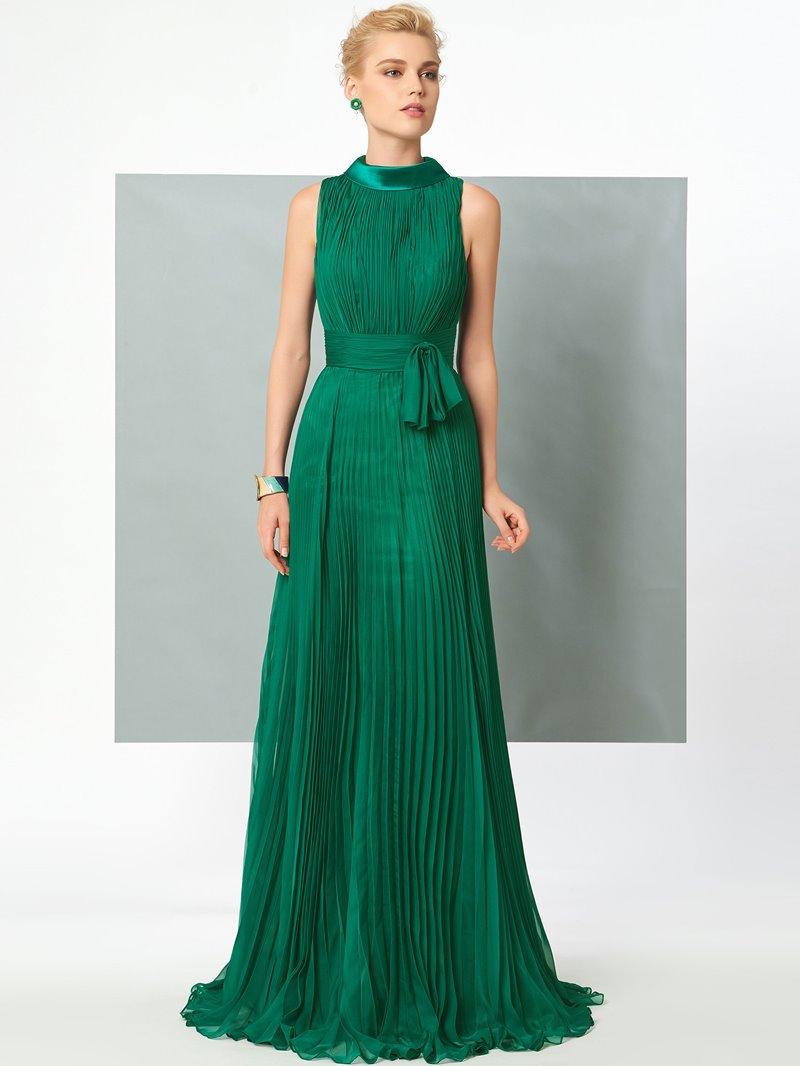 Ericdress Vintage A Line High Neck With Belt Pleats Chiffon Long Evening Dress