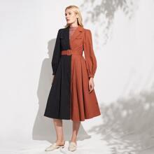 Baumwollmischung Mantel mit Farbblock und Guertel