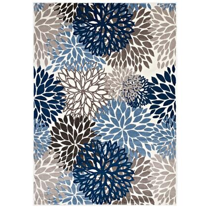 Calithea Collection R-1133A-58 Vintage Classic Abstract Floral 5x8 Area Rug in Blue  Brown and Beige