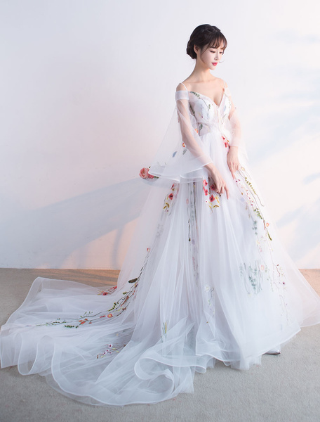 Milanoo Ivory Pageant Dress Tulle Embroidered Prom Dress Bell 3/4 Length Sleeve V Neck A Line Party Dress With Train