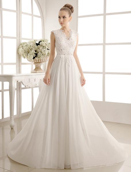 Milanoo Vestidos de novia gasa con cuello en V vestido de novia de la playa perlas con cuentas de encaje vestido de novia de marfil